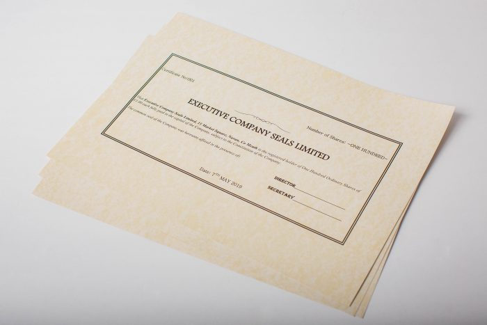 Photo of Shareholder Certificates